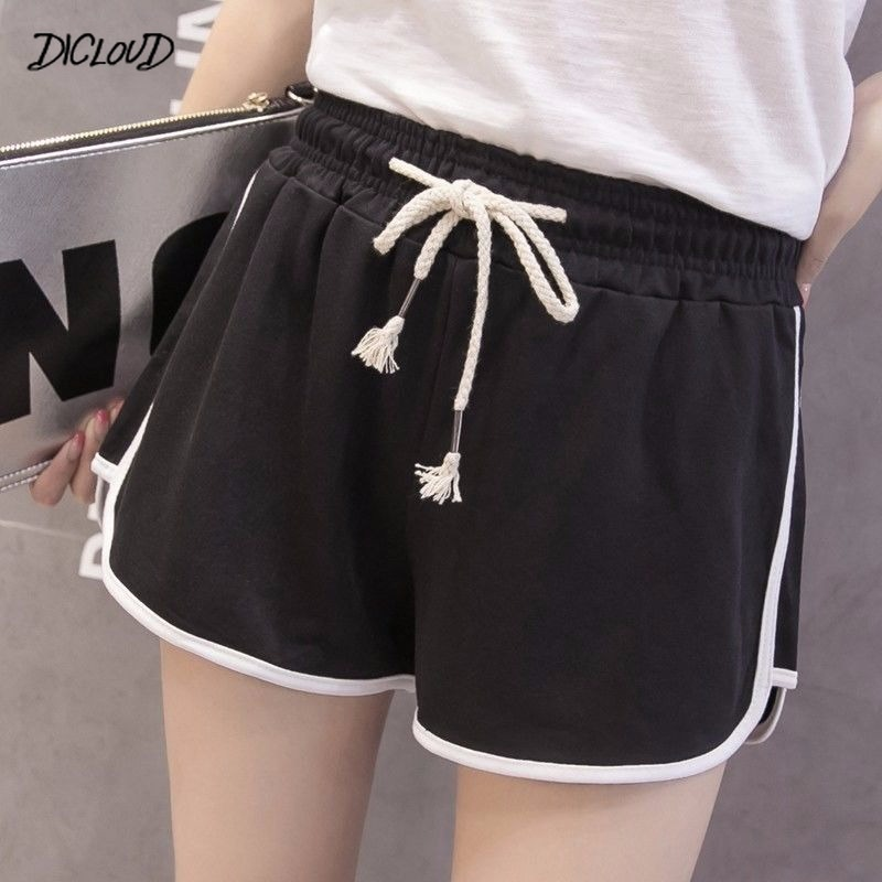Casual Shorts Woman Harajuku Plus Size High Waist Booty Shorts Female  Black White Loose Beach Sexy Short S-XXL