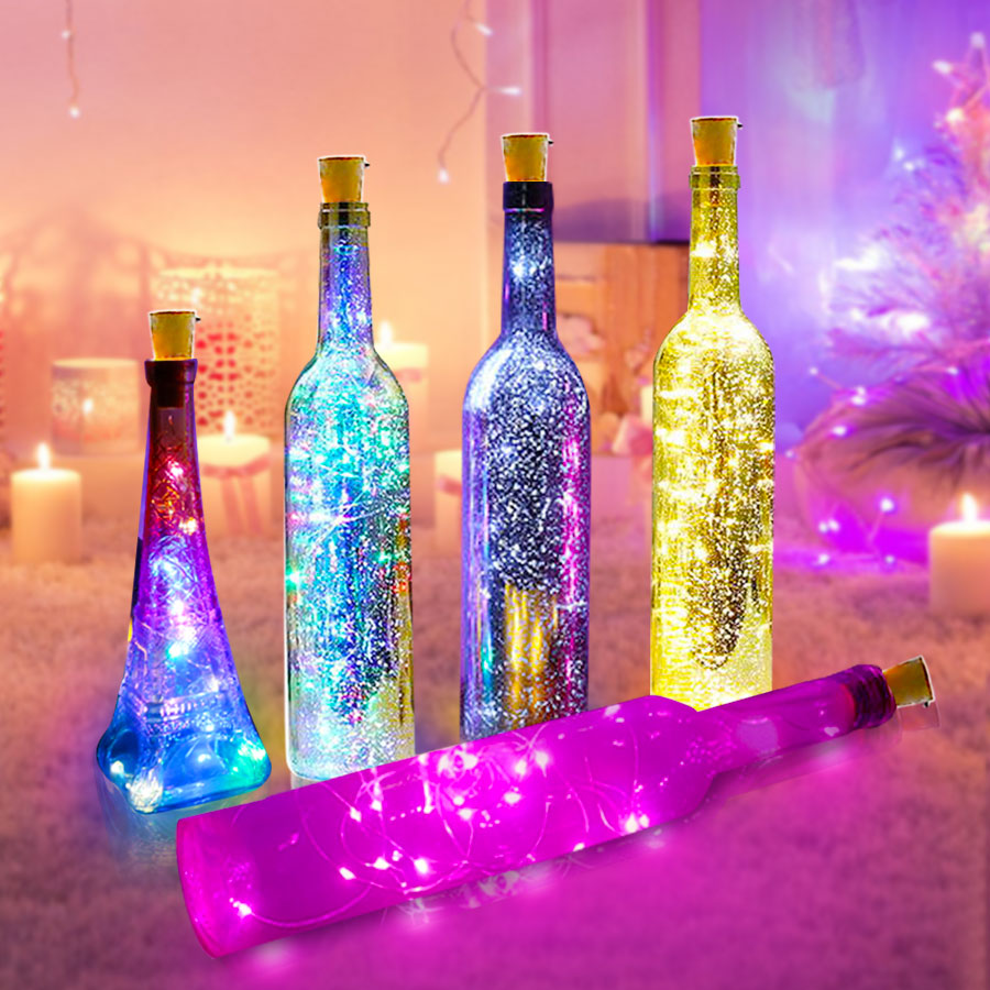 Wine Bottle Lights With Cork Copper Wire Battery Powered Led Garland Colorful Fairy Lights String For Party Wedding Decoration