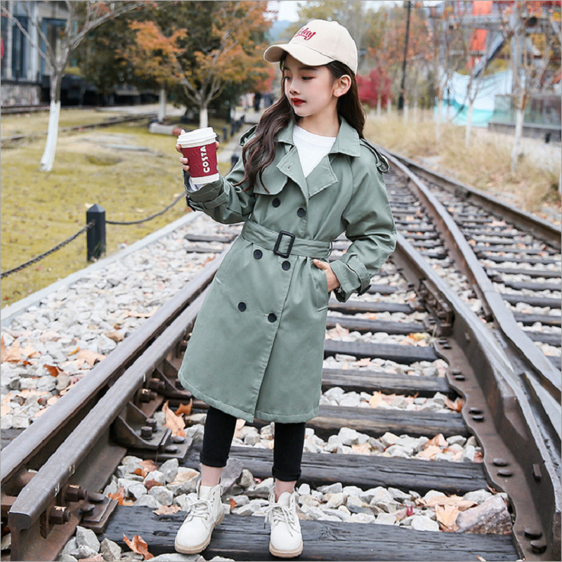 Children's Windbreaker Girls Jackets Autumn Spring Cotton Trench For Girls Double-breasted Casual Outerwear Teens Kids Trench