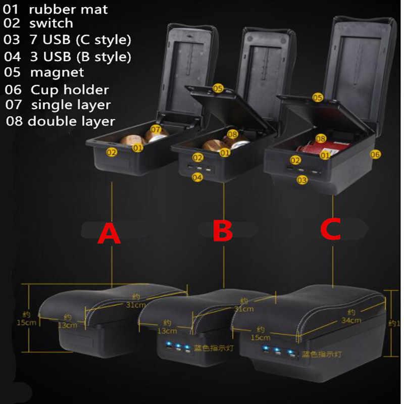 Pour Mazda Demio accoudoir boîte magasin central contenu boîte de rangement avec support de verre cendrier interface USB