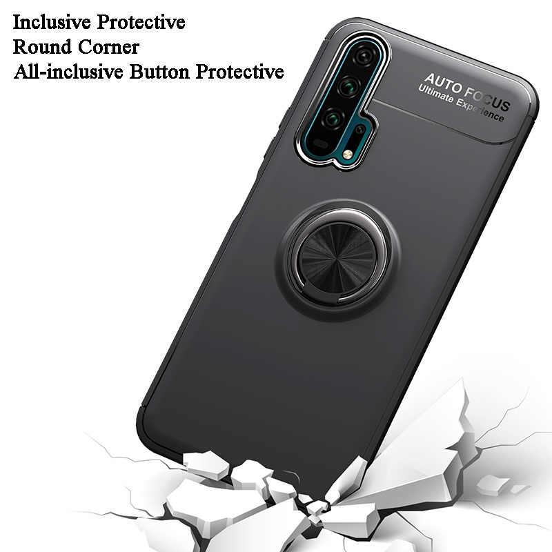 Чехол для телефона huawei Honor 20 Pro, чехол-бампер с магнитным металлическим кольцом, мягкий силиконовый чехол из ТПУ для huawei Honor 20 20Pro, чехол