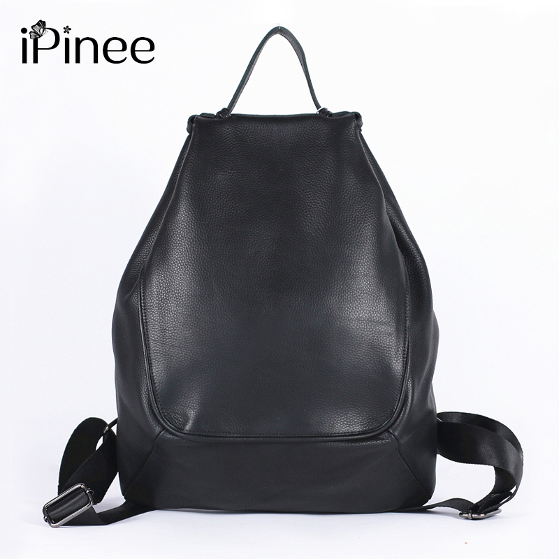 IPinee 100% Real Genuine Cow Leather Black Brown Women Design Backpack Lady Girl Top Layer Cowhide Book Bag Mochila