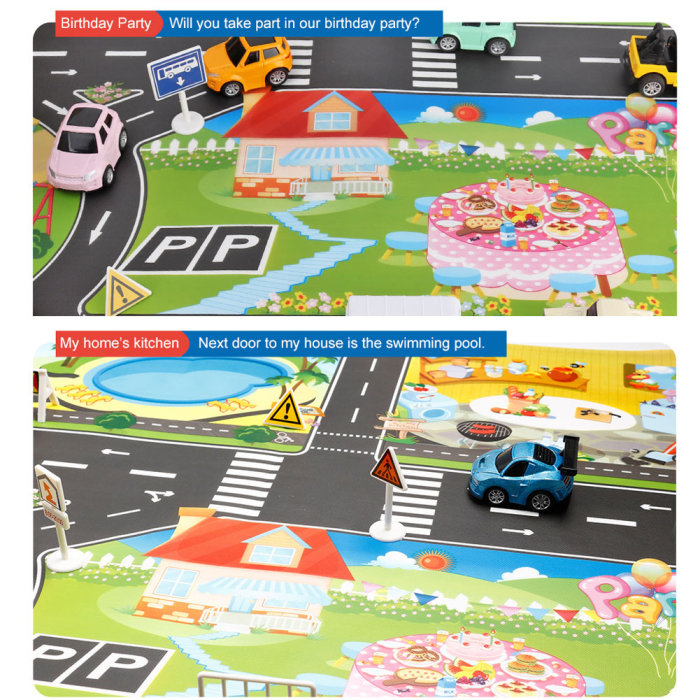 H4cccf457d61f48b8b4c2db3717ff4c921 Hot Selling 130*100cm Children Play Mats House Traffic Road Signs Car Model Parking City Scene Map