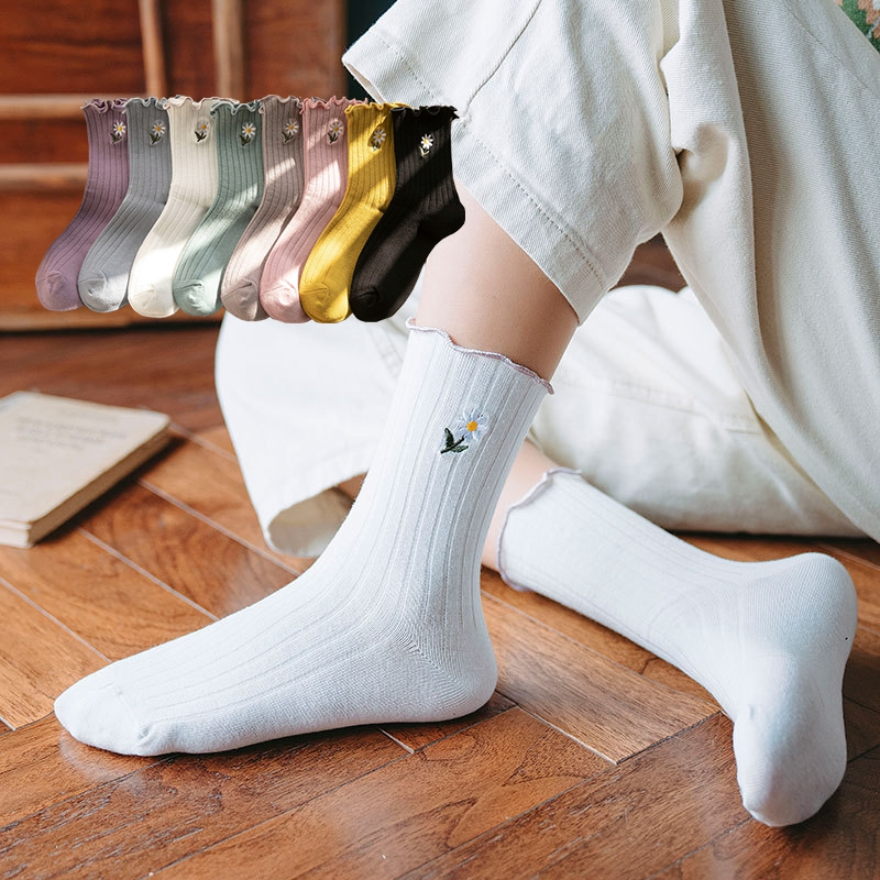Fresh Frilly Ruffle Floral Printed Crew Socks Women Cute 100 Cotton Girls Thick Elite Best White Black School Loafer Socks Happy