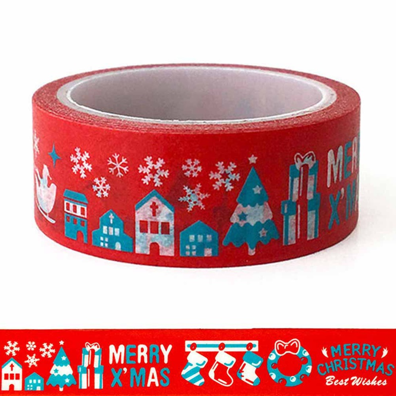 1PCS Merry Christmas Washi Tapes Big Red Christmas Day DIY Decoration Creative Stationery Color And Paper Masking Tape