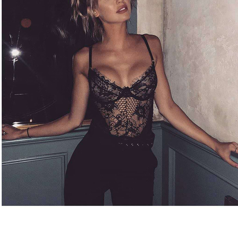H4ccd28206c7b4665a941845384aa5131T Women Lingerie Bodysuit Sexy Lace Sleeveless Mesh Floral See-through Teddies Exotic Hollow Out Clothing