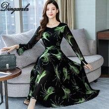 Dingaozlz M-3XL Elegant Chiffon dress Slim Flare sleeve Printed long Autumn 2019 Vestidos New fashion Casual Women