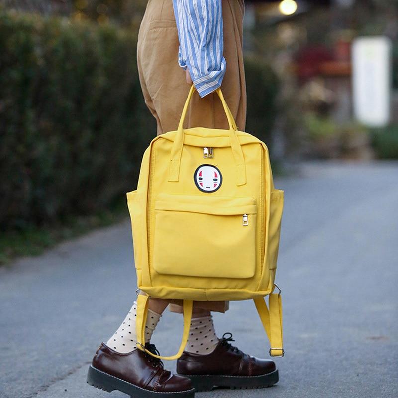Kajie Harajuku Women Cute Backpack Casual School Bag Spirited Away Candy Color Teenager Bags Female Canvas Travel Backpacks