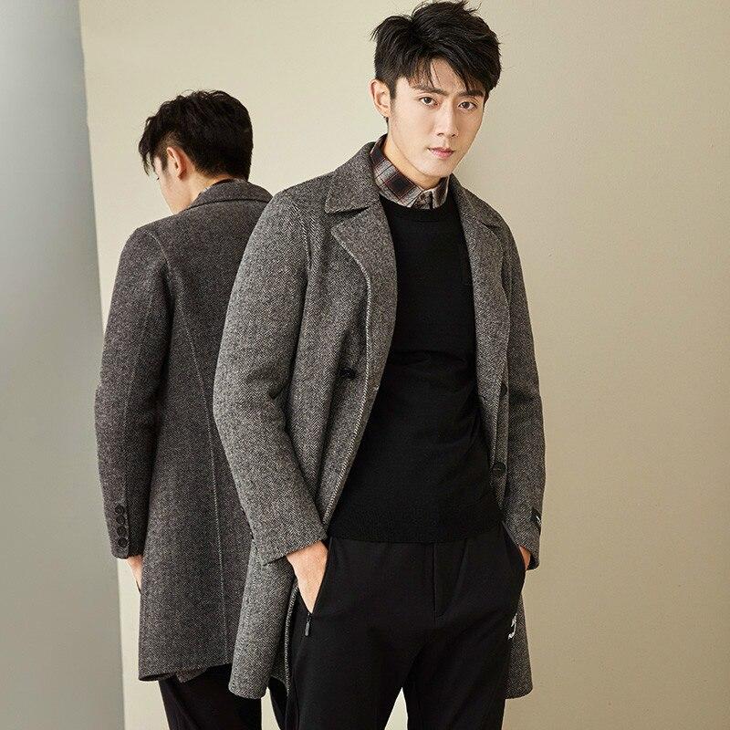 Double Breasted Wool Coat Men Spring Autumn Double-sided Long Jacket Men Woolen Overcoat New Arrival MG-1800033 KJ1318