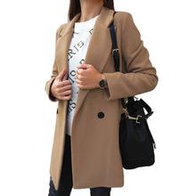 2020 nowy kobiety wełniany płaszcz jesień zima moda elegancki Pure Color długim rękawem z długim rękawem podwójne jednorzędowe guziki klapa płaszcze wełniane kobiet tanie tanio bibihou Z wełny COTTON Poliester Octan CN (pochodzenie) long YY1080 Osób w wieku 18-35 lat Skręcić w dół kołnierz