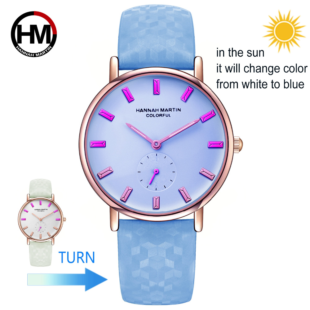 New Model Creative Watch It Will Change Colors Under The Sun Fashion Women Wristwatch UV Waterproof Colorful Watch With Gift Box