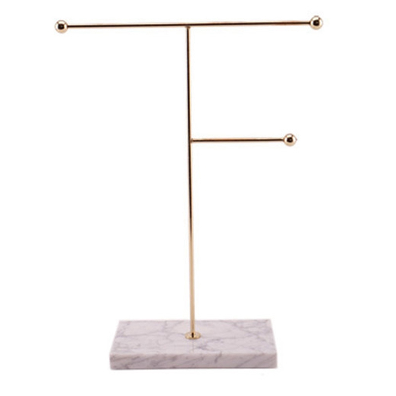 Nordic Metal Golden Storage Rack with Marble Base Chic Ins Modern Jewelry Ring Necklace Earring Display Rack Holder Des