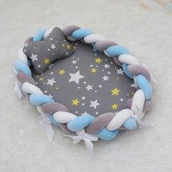 Cama de bebé portátil de 80 × 50cm cuna de bebé cuna tejida cuna de niños cuna parachoques lados en la cuna decoración de la habitación del recién nacido