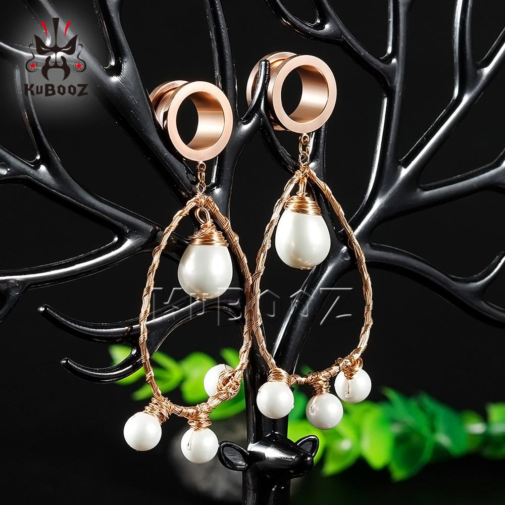New Fashion Drop Shape Trangle Pearl Ear Piercing Tunnels Ear Dangle Plugs Body Jewelry Ear Gagues Gift For Women 6 to 25mm in Body Jewelry from Jewelry Accessories