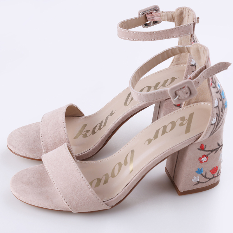 Embroider High Heel Sandals Women Summer Sandals Ethnic Floral Party Shoes Fashion High Quality Elegant Small Fresh Sandals