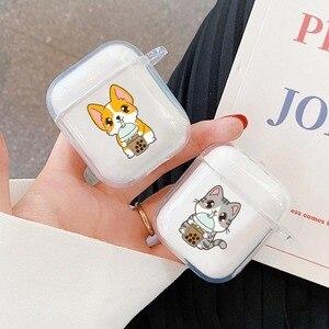 Милый питье для кошек и собак, чай с молоком, беспроводные bluetooth-наушники, аксессуары, чехол для Apple airpods, чехол s 1 2, силиконовый чехол