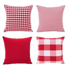 Christmas Red White Throw Pillow Case Cushion Cover Holiday Decor for Sofa Set of 4(Checkered Plaid, Stripe, Lattice)(China)