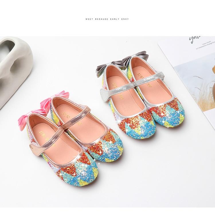 2020 novas meninas sapatos de lantejoulas princesa