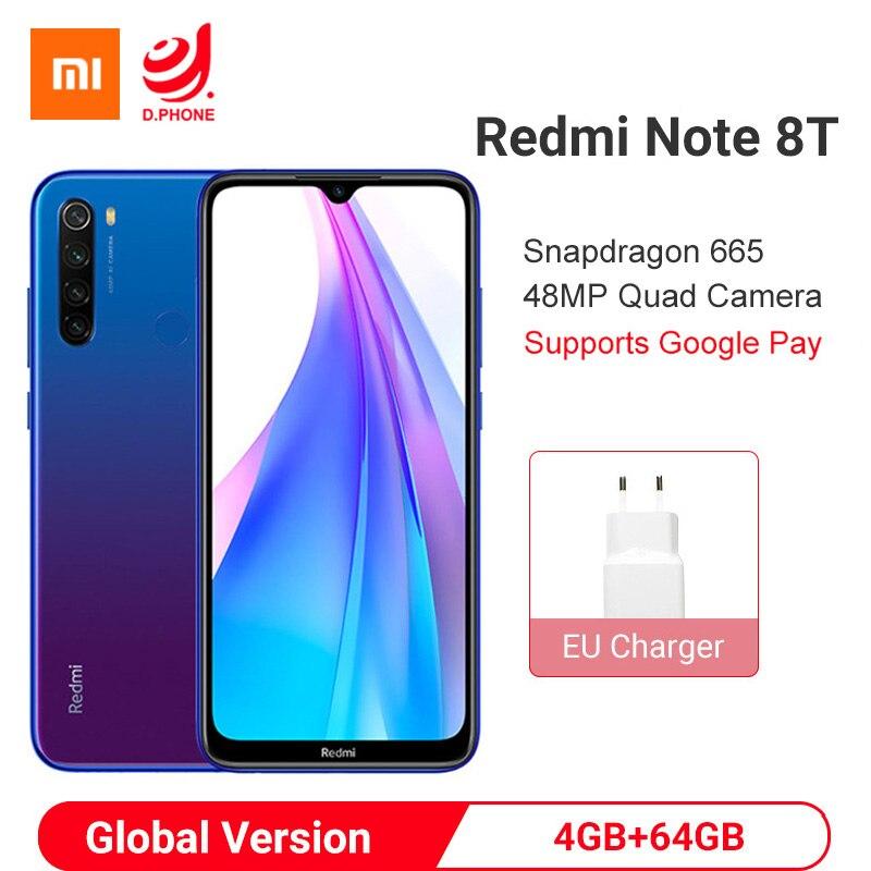 Global Version Xiaomi Redmi Note 8T 4GB 128GB NFC Smartphone Snapdragon 665 Octa Core 48MP Quad Camera 4000mAh 18W Fast Charge