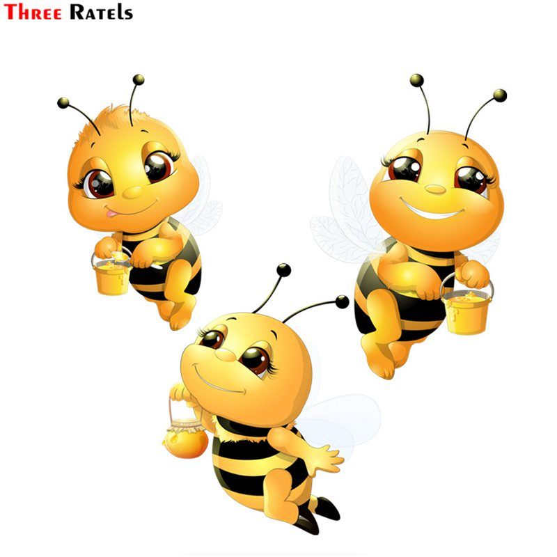 Three Ratels FTC-666# Beatiful Cute Lovely Little Bee PVC Waterproof Bedroom Wall Motorcycle Car Sticker Decal