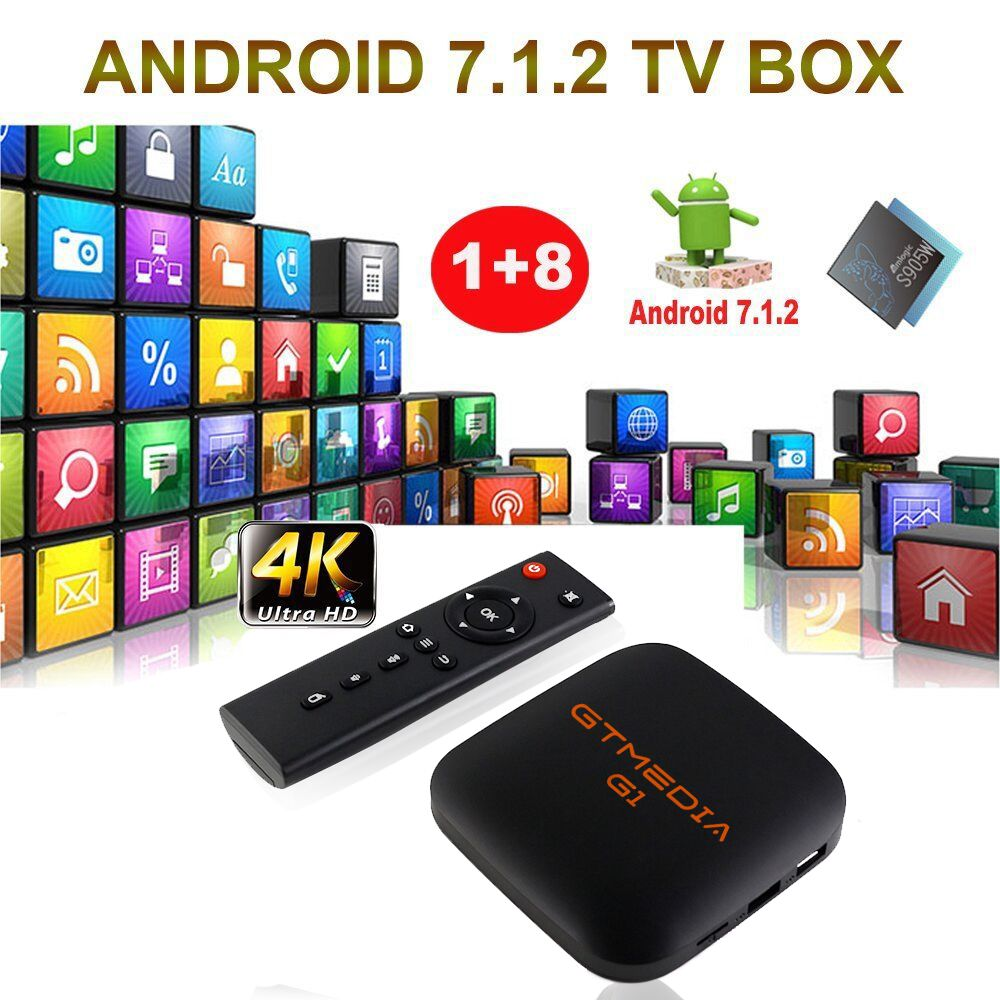 цена GTmedia G1 Smart TV Box Android 7.1 Android TV BOX 1GB RAM 8GB ROM Google Play Store Support IPTV Youtube Online Movies 4K GTUI в интернет-магазинах