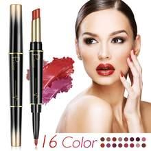 16 cores de longa duração lábio forro fosco batons cabeça dupla lábio lápis à prova dwaterproof água hidratante maquiagem contorno cosméticos quentes