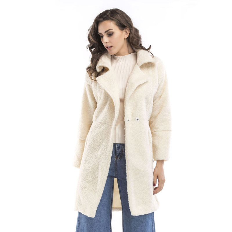 2019 autumn and winter new women's cotton jacket cashmere long-sleeved solid color long coat wool coat 11