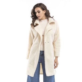 2019 autumn and winter new women's cotton jacket cashmere long-sleeved solid color long coat wool coat 2