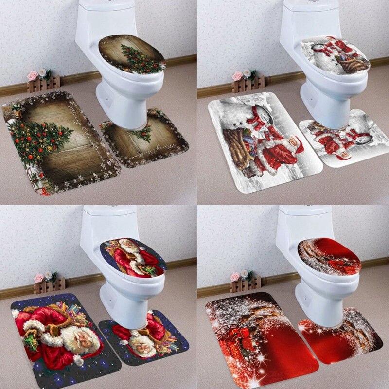 3pcs Christmas Snowman Printing Toilet Seat Cover Bathroom Mat Xmas Decor Decoration for Home Supplies