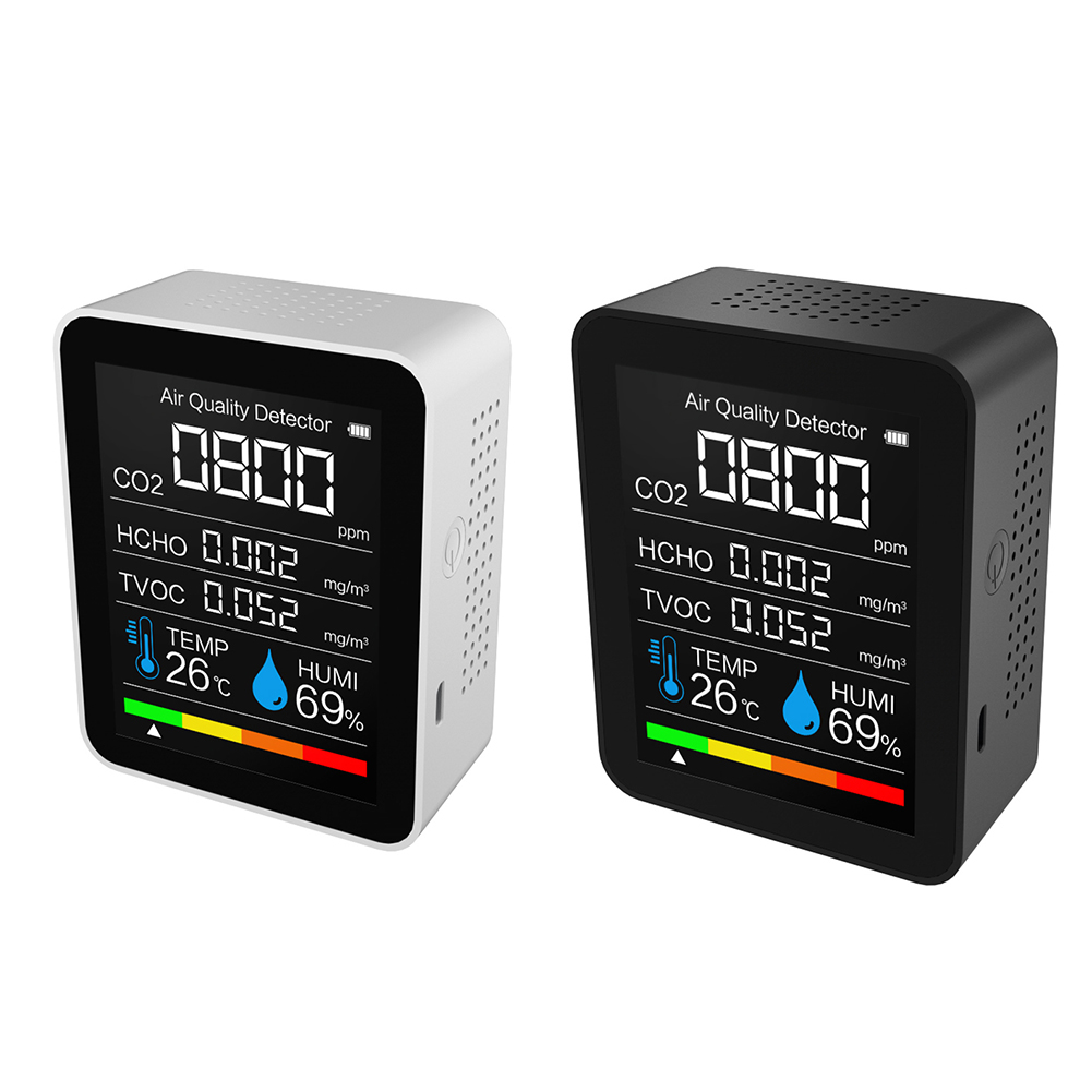 Цифровой датчик температуры и влажности CO2, тестер 5 в 1 для контроля качества воздуха, детектор углекислого газа и формальдегида
