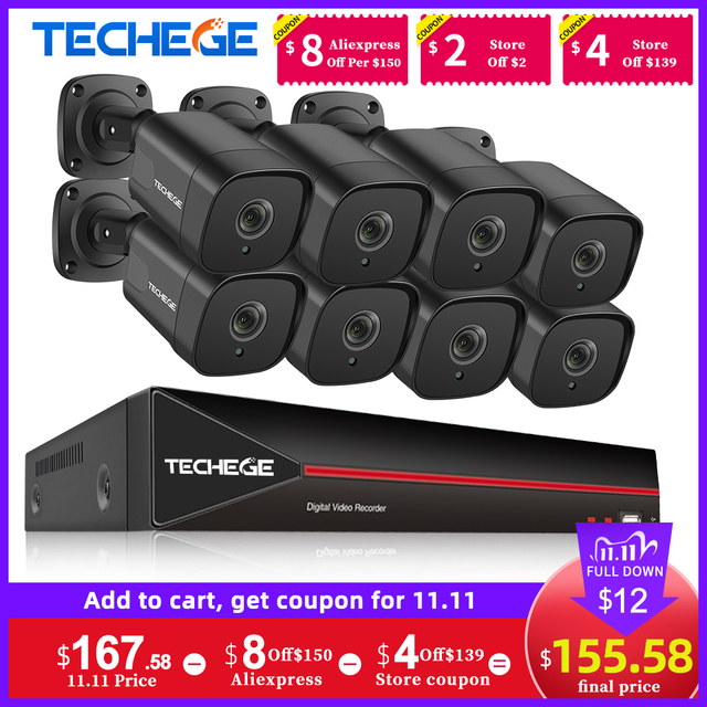 Techege 8CH H.265 5MP POE NVR комплект Уход за кожей лица Dectection камера видеонаблюдения системы безопасности комплект открытый стандарт Onvif видео наборы для камеры наблюдения