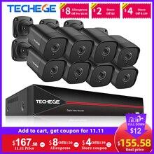 Techege 8ch h.265 5mp poe nvr kit rosto dectection cctv kit sistema de câmera segurança ao ar livre onvif kits de câmera de vigilância de vídeo