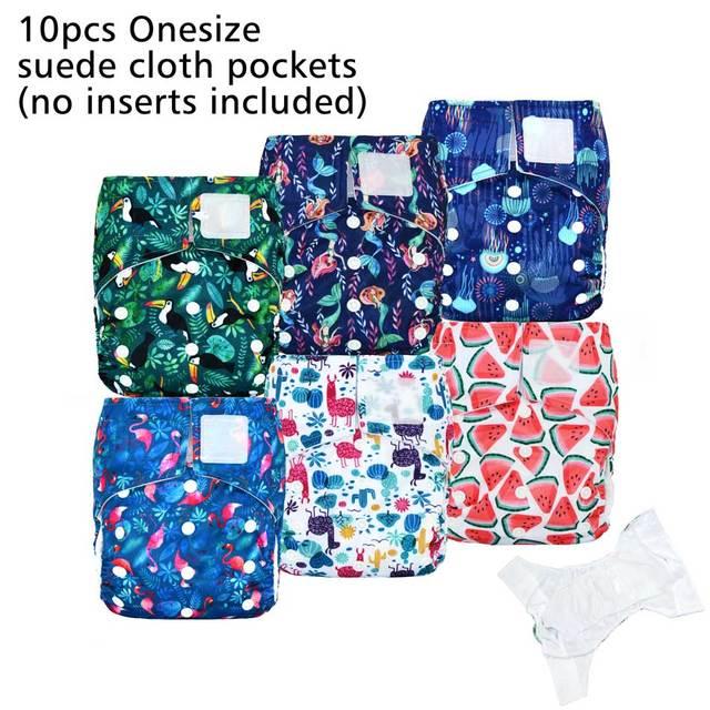 (10 Stks/partij) Gelukkig Fluit Klittenband Os Pocket Doek Luier, Met Twee Zakken, waterdicht En Ademend, Voor 5 15Kg Baby