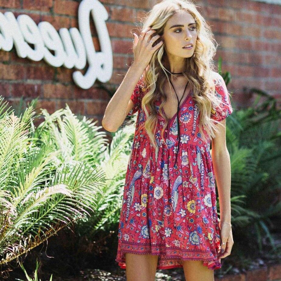 Virágos nyomtatás Bohém Mini ruha Nyári Rövid mély V-nyakú Szexi Sifon Hippi-Chic stílusú Vintage Nyaralás Strand ruhák Női