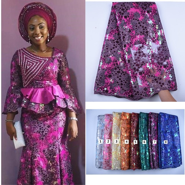 African Lace With Sequins Embroidery Textile Lace Fabric High Quality Sequins French Tulle Lace Fabrics For Wedding Party A1592