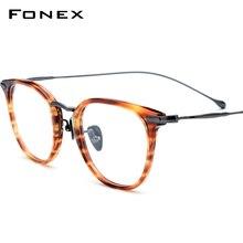 FONEX Pure B Titanium optyczne okulary rama mężczyźni Vintage okulary korekcyjne kobiety Retro okrągłe krótkowzroczność okulary okulary 839