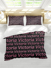 Home Textile Bedding Set Bed linen 3PCS Duvet Cover Personalised Name Photo Black Pink Family Birthday Anniversary Gift