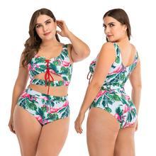 Bademode 2020 Neue Plus Größe 2 Stück Set Frauen Animal Print Badeanzug frauen Strand Plus Größe Badmode XXXXL Frauen der Bademode XXL