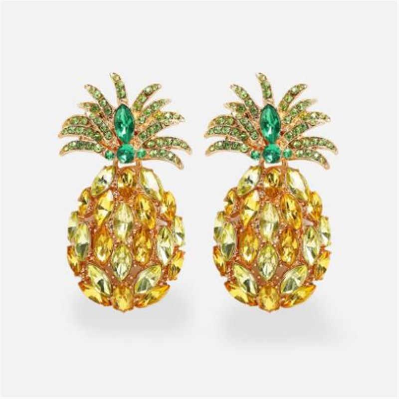 WKOUD 2019 ZA Pineapple Rhinestone Statement Earring Boho Fashion Crystal Drop Dangle Earrings for Women party Jewelry Bijoux