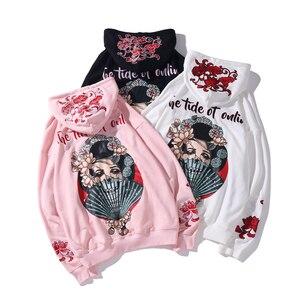 Image 3 - Nam Hip Hop Áo Hoodie Nỉ Geisha Nhật Bản Harajuku Dạo Phố Thêu Hoa Áo Khoác Áo Thun Chui Đầu Cotton Mùa Thu Nhật Bản Phong Cách
