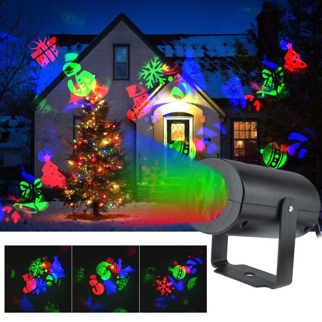 12 Patterns Christmas LED Snowflake Projector Light Laser Projection Outdoor Disco Light Home Garden Party Decor