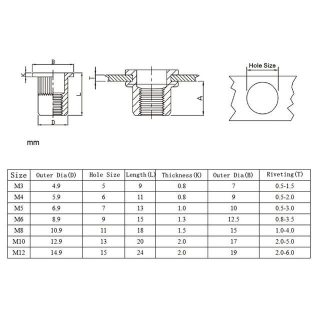 10-20Pcs-M3-M4-M5-M6-M8-M10-Zinc-Plated-Knurled-Nuts-Rivnut-Flat-Head-Threaded