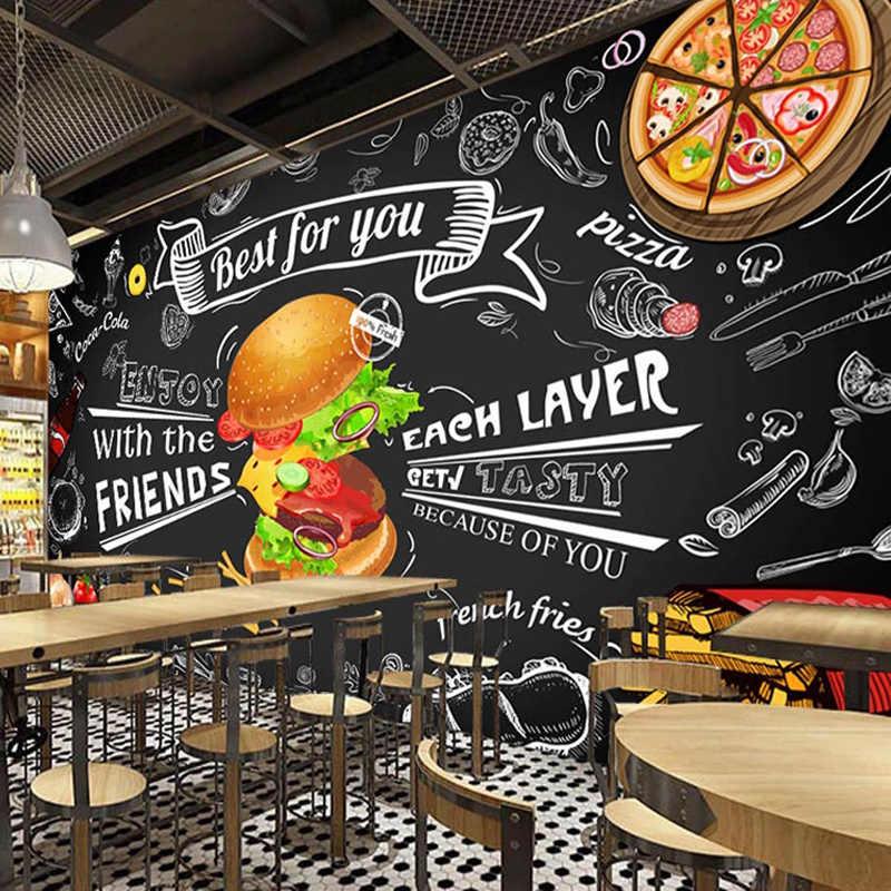 Aangepaste Mural Behang 3D Burger Fast Food Restaurant Koffie Shop Keuken Foto Achtergrond 3D Muurschilderingen Behang Woonkamer