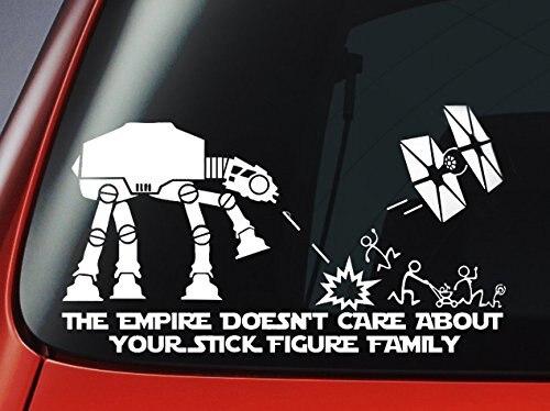 Звездные войны ATAT & Tie Fighter вдохновили «Империя не заботится о вашей наклейка с изображением семьи» виниловая наклейка-стикер на окна автомо...