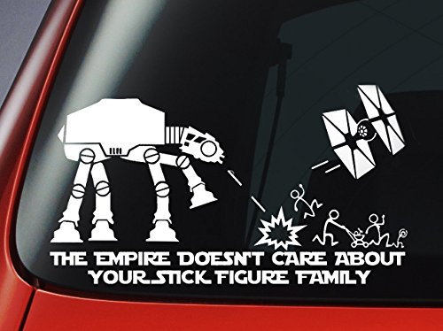 Window-Sticker Tie Fighter Empire About-Your-Stick-Figure Vinyl Decal-Car Star-Wars Family-ATAT'the title=