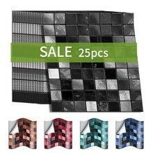 Funlife 10/15cmx25 Uds adhesivo de mosaico para la pared Vintage PVC adhesivo impermeable para azulejos, adhesivo para azulejos, azulejos para el hogar, muebles de cocina y baño