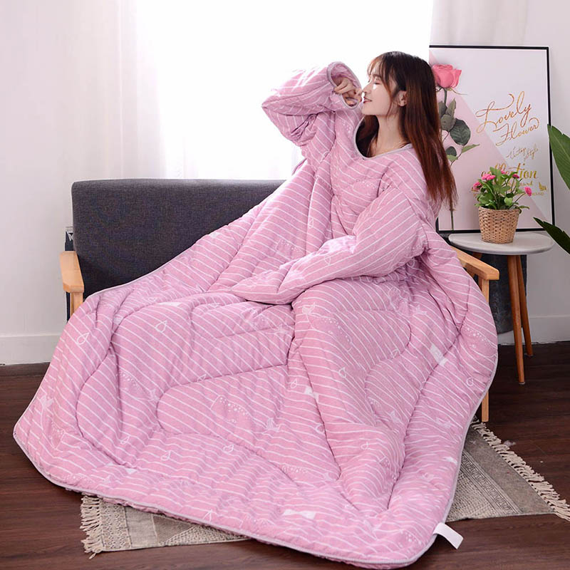 Multifunction Lazy Quilt with Sleeves Winter Warm Thickened Washed Quilt Blanket WWO66
