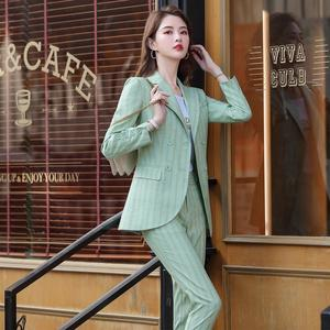 Image 3 - New Women Double Breasted Pant Suit S 5XL Casual Green Khaki Pink Stripe Jacket Blazer And Pant 2 Piece Suit Set
