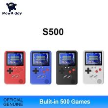 Powkiddy ince elde kullanılır oyun konsolu çocuk hediye dahili 500 oyunları 8Bit Retro FC oyunları çocuk bulmacaları taşıması kolay