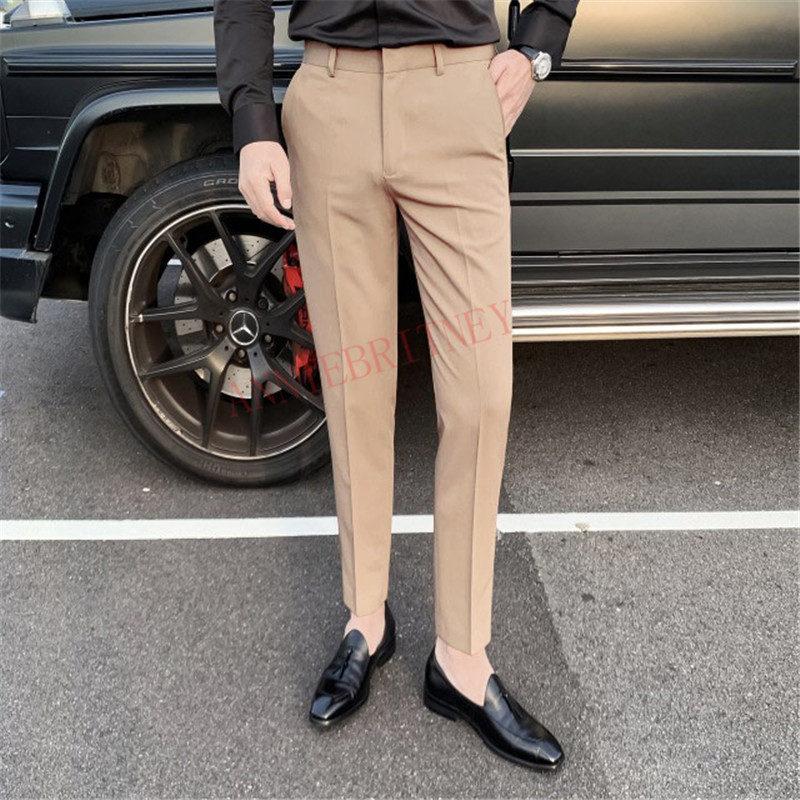 2020 Men Suit Pants Summer Fashion Boutique Beige Business Casual Men's Trousers Custom Made Slim Fit Plus Size Korean Men Pants